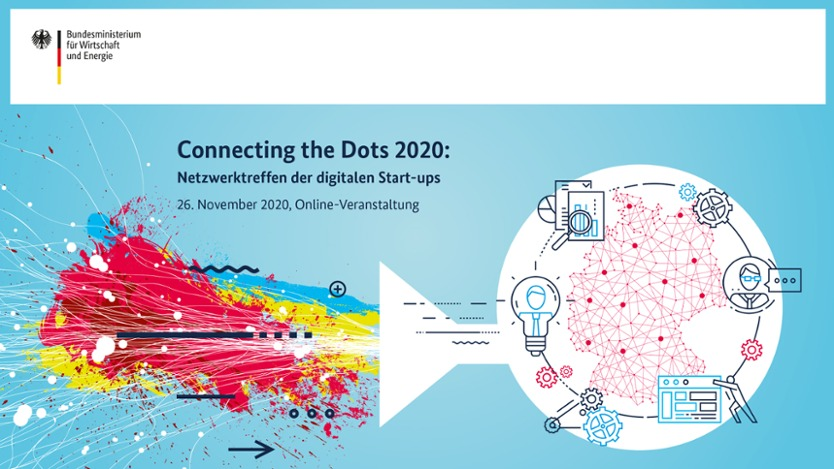 Keyvisual des Connecting the Dots: Netzwerktreffen der digitalen Start-ups