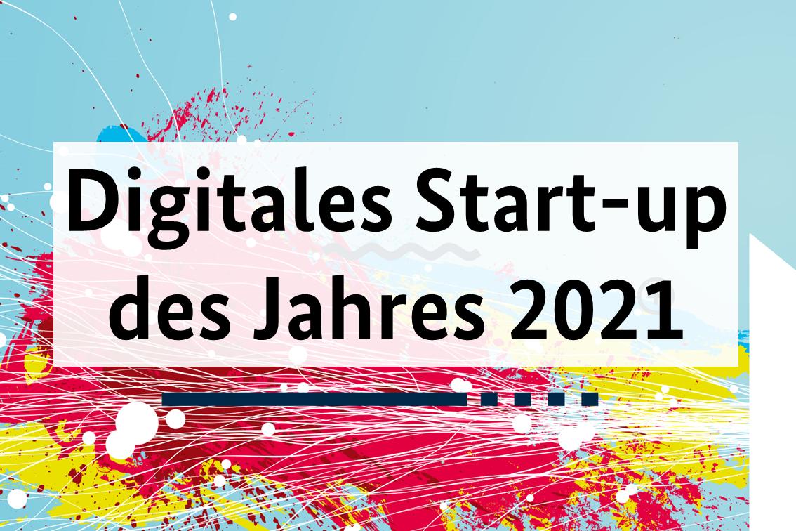 Schriftzug vor buntem Hintergrund Digitales Start-up des Jahres