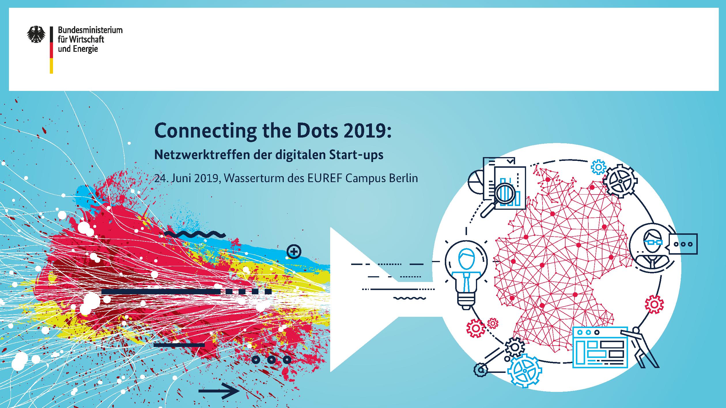 Keyvisual des Connecting the Dots: Netzwerktreffen der digitalen Start-ups