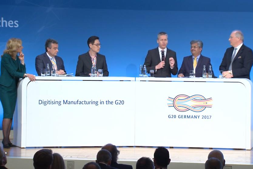 """Paneldiskussion auf der Konferenz """"Digitising Manufacturing in the G20""""; Quelle: BMWi"""