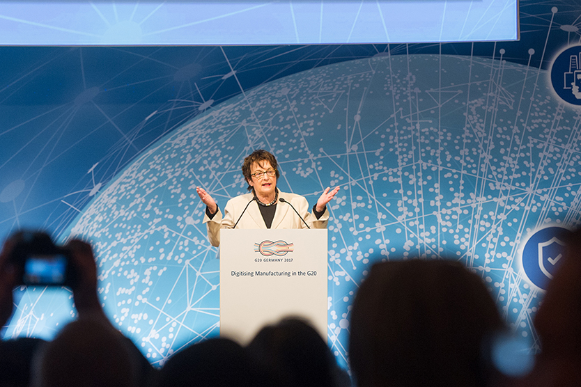 "Federal Minister Brigitte Zypries at the conference entitled ""Digitising Manufacturing in the G20 - Initiatives, Best Practices and Policy Approaches""; BMWi/Maurice Weiss"