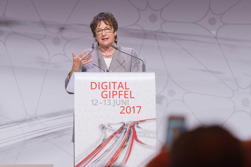 Economic Affairs Minister Brigitte Zypries speaking at the Digital Summit