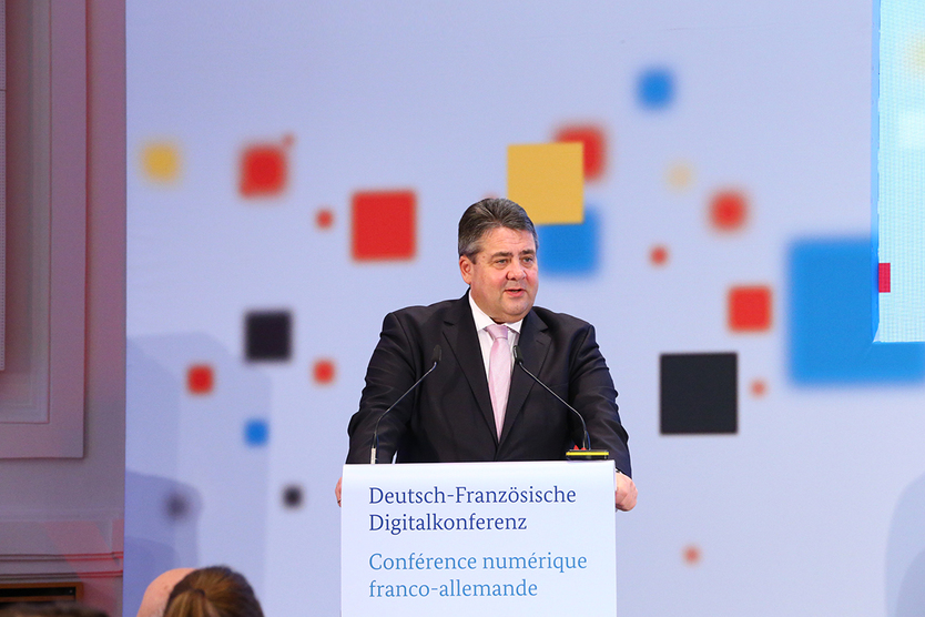 Federal Minister Sigmar Gabriel during his opening speech.