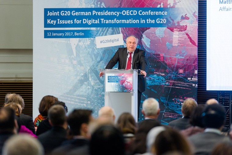 On 12 January 2017, State Secretary at the Federal Ministry for Economic Affairs and Energy Matthias Machnig launched the digital conference entitled 'Key Issues for Digital Transformation in the G20'; source: BMWi/Maurice Weiss