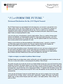 Cover of Dortmund Declaration for the 2019 Digital Summit