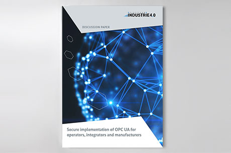 "Cover of publication ""Secure implementation of OPC UA for operators, integrators and manufacturers"""
