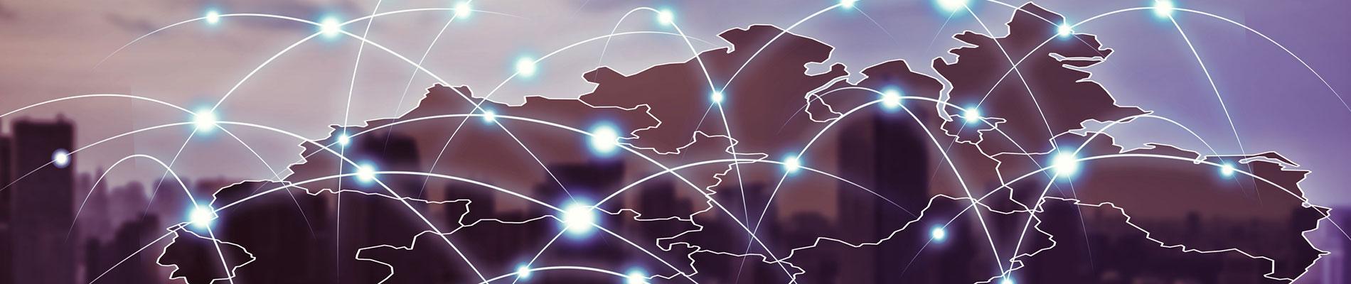Keyvisual der Initiative Stadt.Land.Digital; Illustration zeigt digital vernetzte Deutschlandkarte