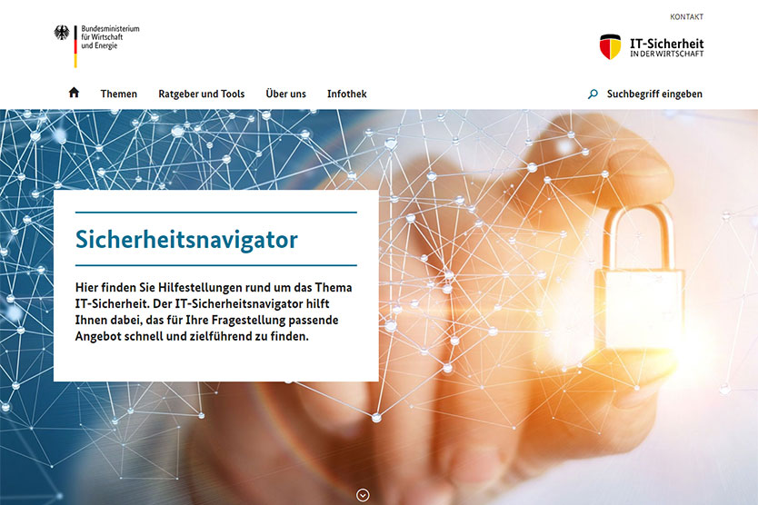 Screenshot der Website IT-Sicherheit in der Wirtschaft