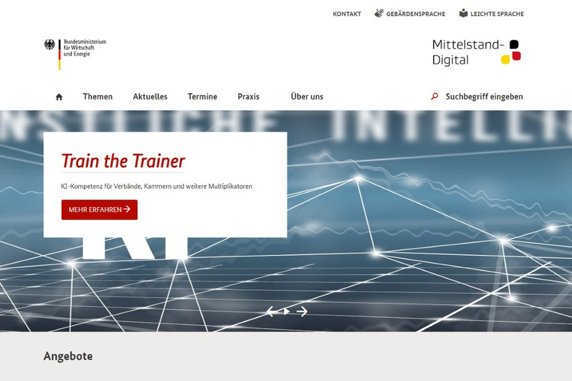 Screenshot der Website Mittelstand Digital