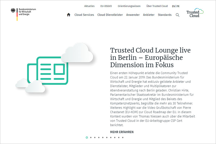 Screenshot der Website Trusted Cloud