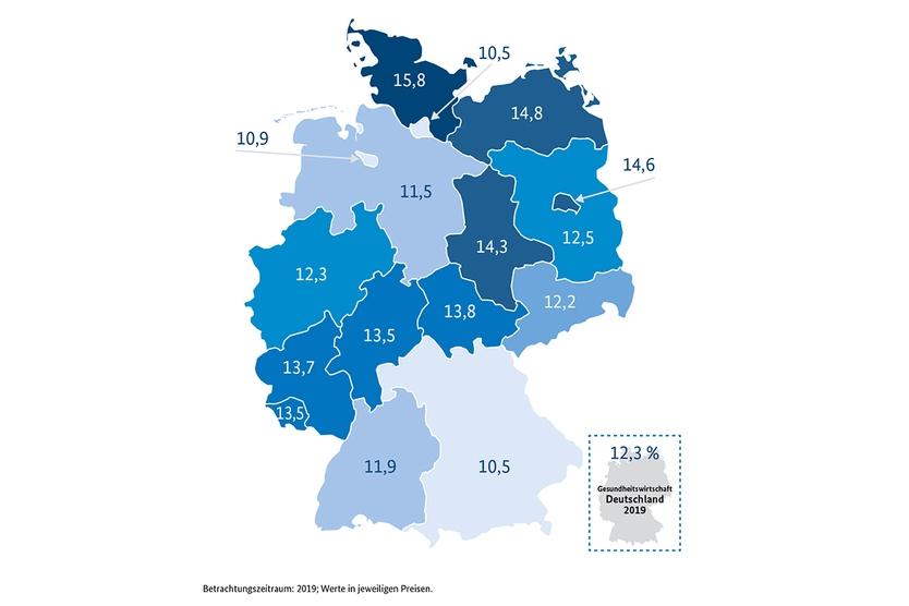 Anteil der Bruttowertschöpfung der Gesundheitswirtschaft an der regionalen Gesamtwirtschaft (in Prozent)