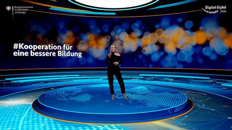 """Screenshot aus dem Video: Digital-Gipfel 2020: #Kooperation für eine bessere Bildung Plattform 7 """"Digitale Zukunft: Lernen. Forschen. Wissen."""""""